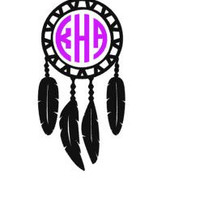 Dreamcatcher Monogram Decal, Custom Vinyl Decal, Macbook Laptop Decal, Car Window Bumper Sticker, Car Decal for Girls, Water Bottle Stickers