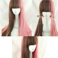 Lolita Cosplay Wigs - Pink Brown Long Wavi Wigs - Party Wigs