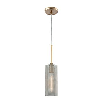 Compartir 1-Light Mini Pendant in Satin Brass with Perforated Metal