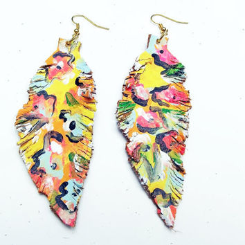 Messy Floral Leather Feather Earrings by Beatniq on Etsy