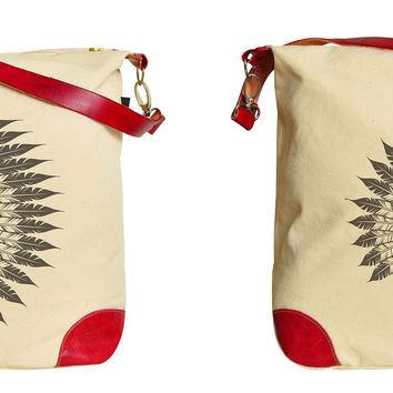 Indian Chief Headdress Printed Canvas Leather Trap Tote Shoulder Bag WAS_33