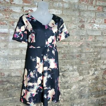 AUCTION ITEM - Plus Size Ava &Viv Watercolor Fit n Flare Scuba Dress Sz 1X