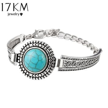 17KM Vintage Jewelry Tibetan Carved Round Blue Stone Bangle For Women Bracelet Watch Band pulsera brazalete Good Quality