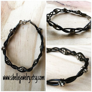 Handmade black leather cord bracelet / beaded bracelet / silver beaded jewelry / black and silver bracelet / boho chic / hippie / gypsey