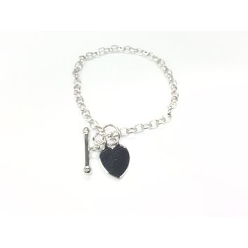 Sterling Silver Heart Pull Through Toggle Clasp Bracelet