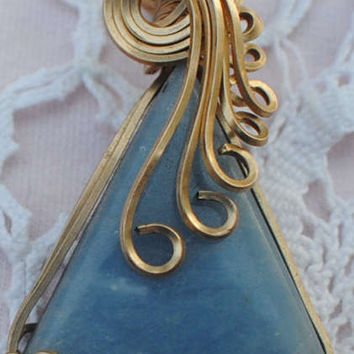 Handmade Wire Wrapped 14k gf, gold filled, Angelite Pendant