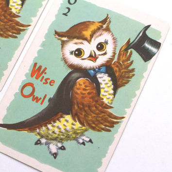 Vintage Owl Cards, 2 Trading Swap Cards Childs Game Paper Lot Supplies, Decor, Scrapbooking, Collectable Ephemera