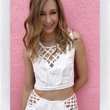 WORK TOGETHER TIE TOP- WHT from shopoceansoul