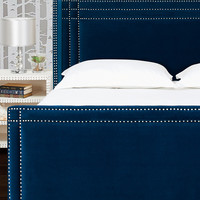 Jennifer Taylor Home Nailhead Trim Headboard Bed Set - Blue