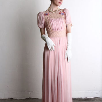 1930s Pink Maxi . Slip and Dress . Evening Gown