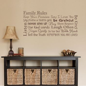 Family Rules Decal - Say I love you - Laugh Often - Remember you are Loved - Family Wall Decal - Horizontal Medium