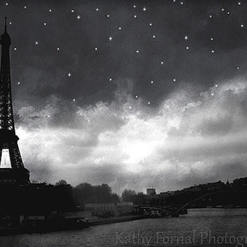 Paris Eiffel Tower Photography,Eiffel Tower Black White Photo, Eiffel Tower Celestial Stars Print, Paris Eiffel Tower Starry Night Landscape