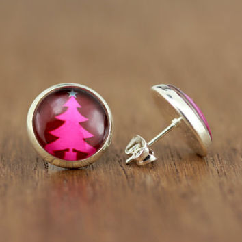 Fake Plugs : Holiday, Christmas Tree Earrings, Fake Plugs, Pink and White, Bohemian, Boho Chic by OAKWILDE on ETSY