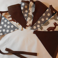 Brown, Gray And White Deer Themed Bunting For Child's Room Or Party Decor