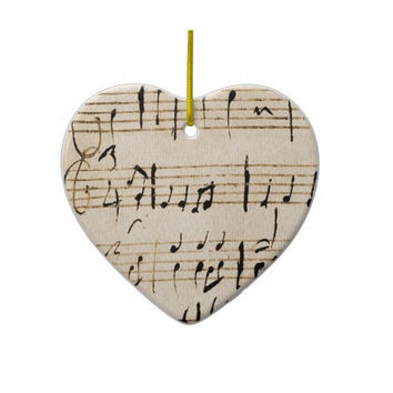 Christmas Music Heart Ornament Personalized Winter White Black Notes Love Gift Tag Ornament Holiday Gifts Home Decor Valentine's Day