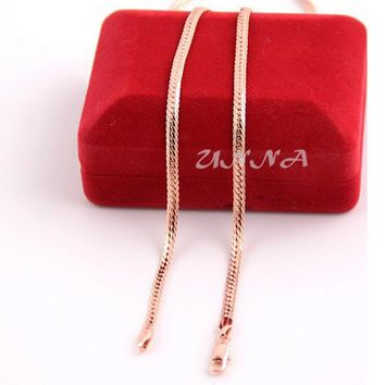 New 3mm Herringbone Snake Chain Man Woman Rose Gold Color Filled Necklace UN004042907