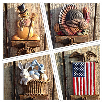 Set of 4 Midwest of Cannon Falls Interchangeable Door Knocker Toppers Cast Iron Antique