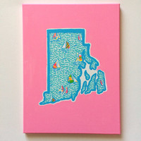 Hand Painted Lilly Pulitzer Home State by CraftingCollegeGirl