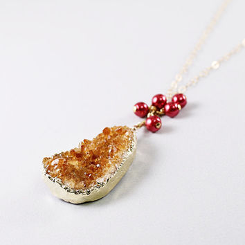Citrine druzy necklace: gold jewelry, pink pearls natural stone chain bold druzy handmade summer fashion