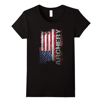 Patriotic Archery Gifts- Cool Archery USA Flag T Shirt