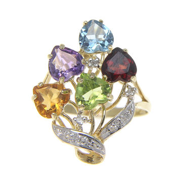 GENUINE HEART SHAPE GARNET BLUE TOPAZ CITRINE PERIDOT AMETHYST DIAMOND RING 14K