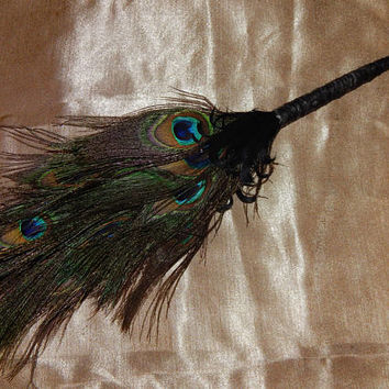 Feather Besom Broom or Smudge Wand - Peacock & Nagorie Feathers w/ Genuine Green Amethyst - Wiccan Besom - Altar Tools - Decorative Broom