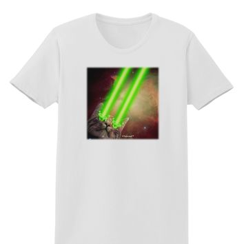 Laser Eyes Cat in Space Design Womens T-Shirt by TooLoud