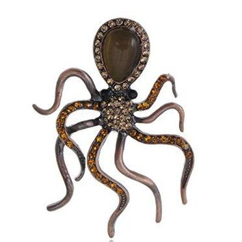 Alilang Copper Tone Topaz Colored Rhinestones Nautical Octopus Legs Brooch Pin