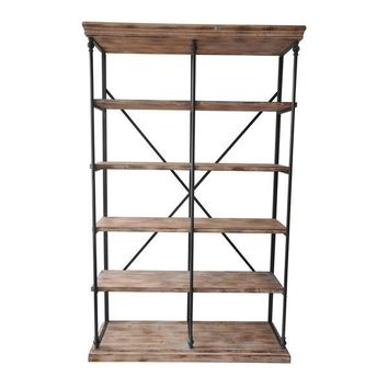 Metal and Wood Bookshelf 48x17x77