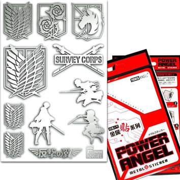 Cool Attack on Titan Japanese Anime  Phone Stickers 3D Metal Stickers Laptop Fridge Sticker DIY Toy Sticker AT_90_11