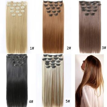 24'' 60cm Hair Extensions Natural Hairpieces Straight Synthetic Clip In Hair Extentions