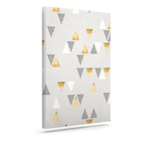 "Nick Atkinson ""Triangle Love"" Gray Gold Canvas Art"