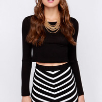 Fit to Rule Black and Ivory Striped Bodycon Skirt