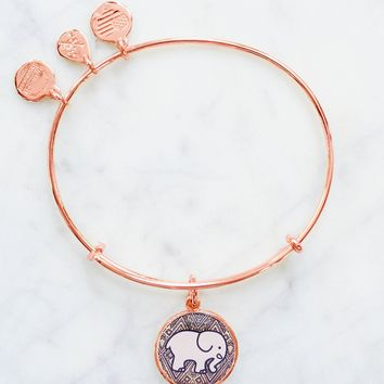 ALEX AND ANI Rose Gold Mosaic Charm Bangle