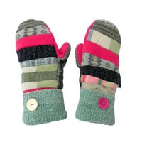 Pink and Green Recycled Wool Sweater Mittens Upcycled Women's Handmade in Wisconsin Blue Gray Patchwork Sweaty Mitts Fleece Lined Recycled