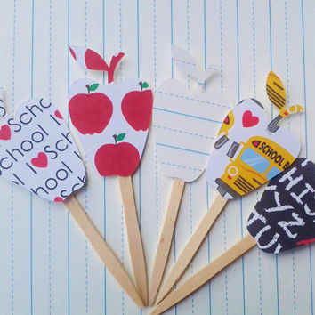 cupcake toppers, school decor, apple toppers, back to school, party decor, cupcake picks