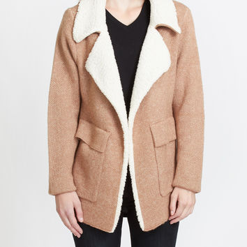 LE3NO Womens Oversized Open Front Knitted Cardigan Jacket