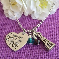 Oilfield Wife Jewelry - Oilfield Wife Necklace - I have his heart, and the rig has him - Gift for Oilfield Wife - Oil Derrick Charm