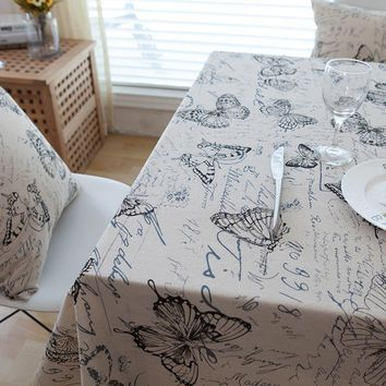 American Country Linen Table Cloth Butterfly Letter Printed Tablecloths Cover with Lace Edge Rectangle Kitchen Coffee Decoration