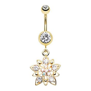 Golden Flower Cluster WildKlass Belly Button Ring