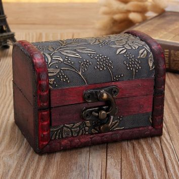 Vintage Wooden Storage Box Jewellery Cufflinks Ring Trinket Gifts Case Holder Random Style