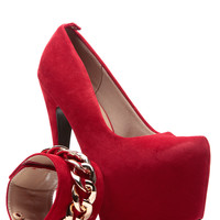Red Faux Suede Chained Sky High Ankle Strap Platform Pumps
