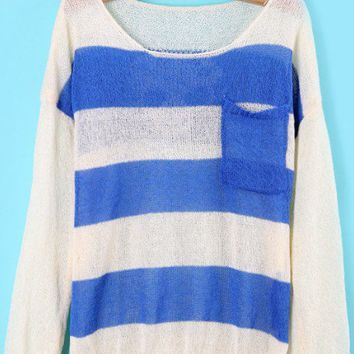 Blue White Pockets Skull Print Knit Sweater - Sheinside.com
