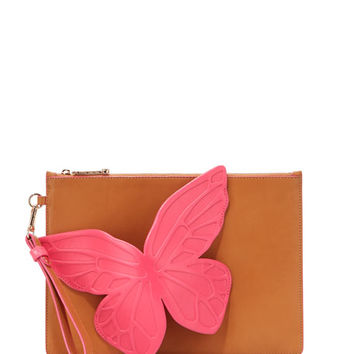 Sophia Webster Flossy Butterfly Leather Pouch Bag, Tan Magenta