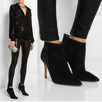 New Trendy Womens Leather Like Sexy Pointy Toe Pull On OL High Heels Ankle Boots Winter Shoes