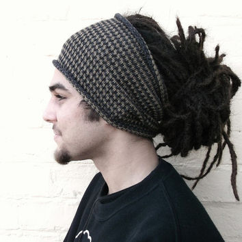 Mens dreadlock tube hat, striped hair wrap, dread band, custom made in any colour, size REGULAR.
