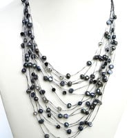 Katie Moore-  Black Freshwater Pearl Multi Strand Necklace