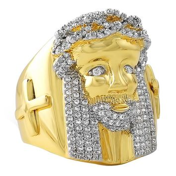CZ Gold Jesus Ring with Cross