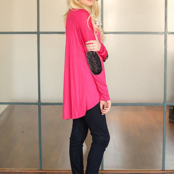 Pink Long Sleeve with Elbow Patch Top