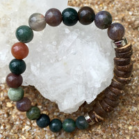 Coconut Shell & Indian Agate Stone Bracelet
